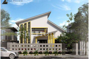 Phối ảnh nhìn từ chính diện vào nhà mặt phố 2 tầng đẹp Vĩnh Phúc