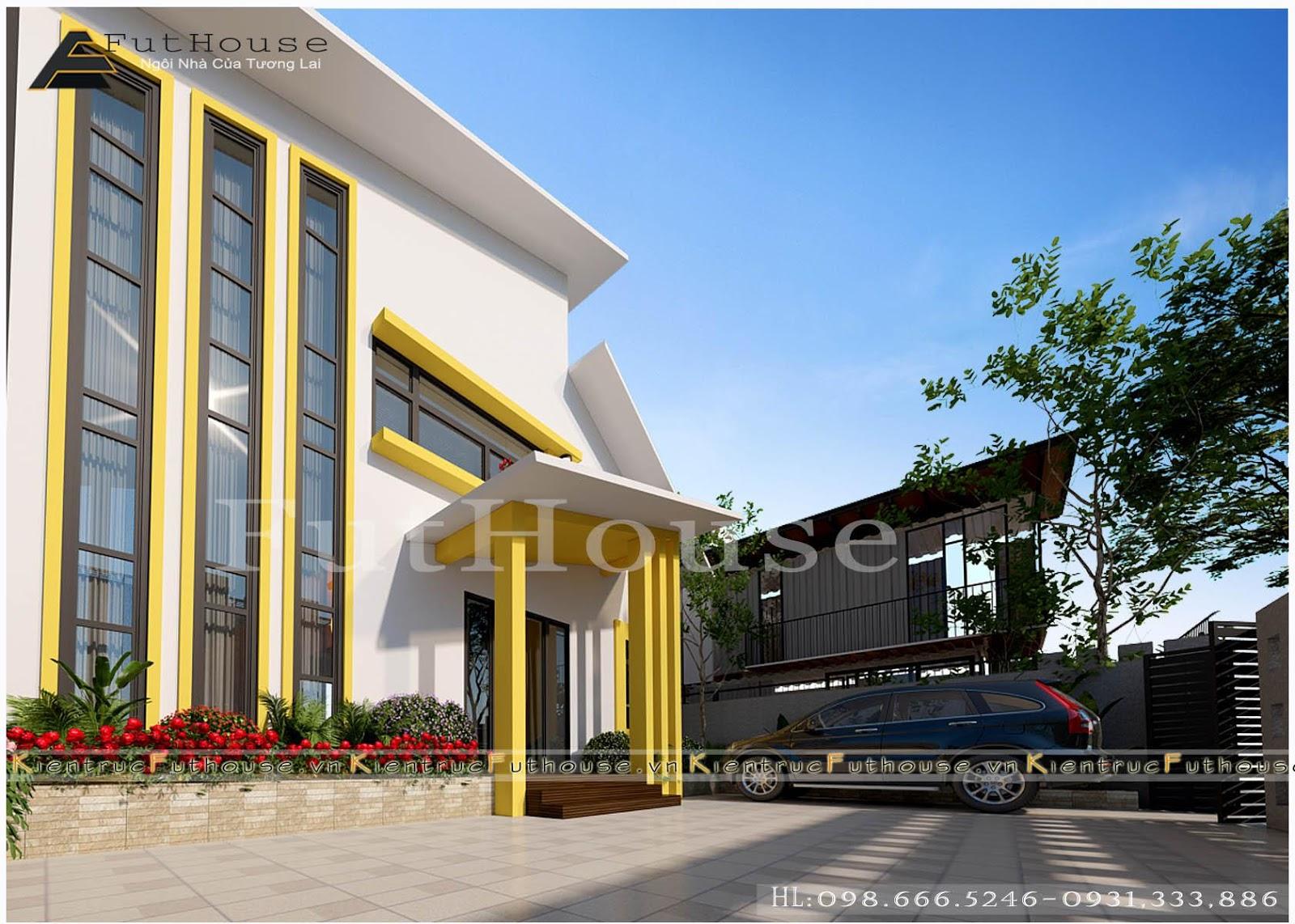 Tổng thể mặt tiền thiết kế nhà mặt phố 2 tầng