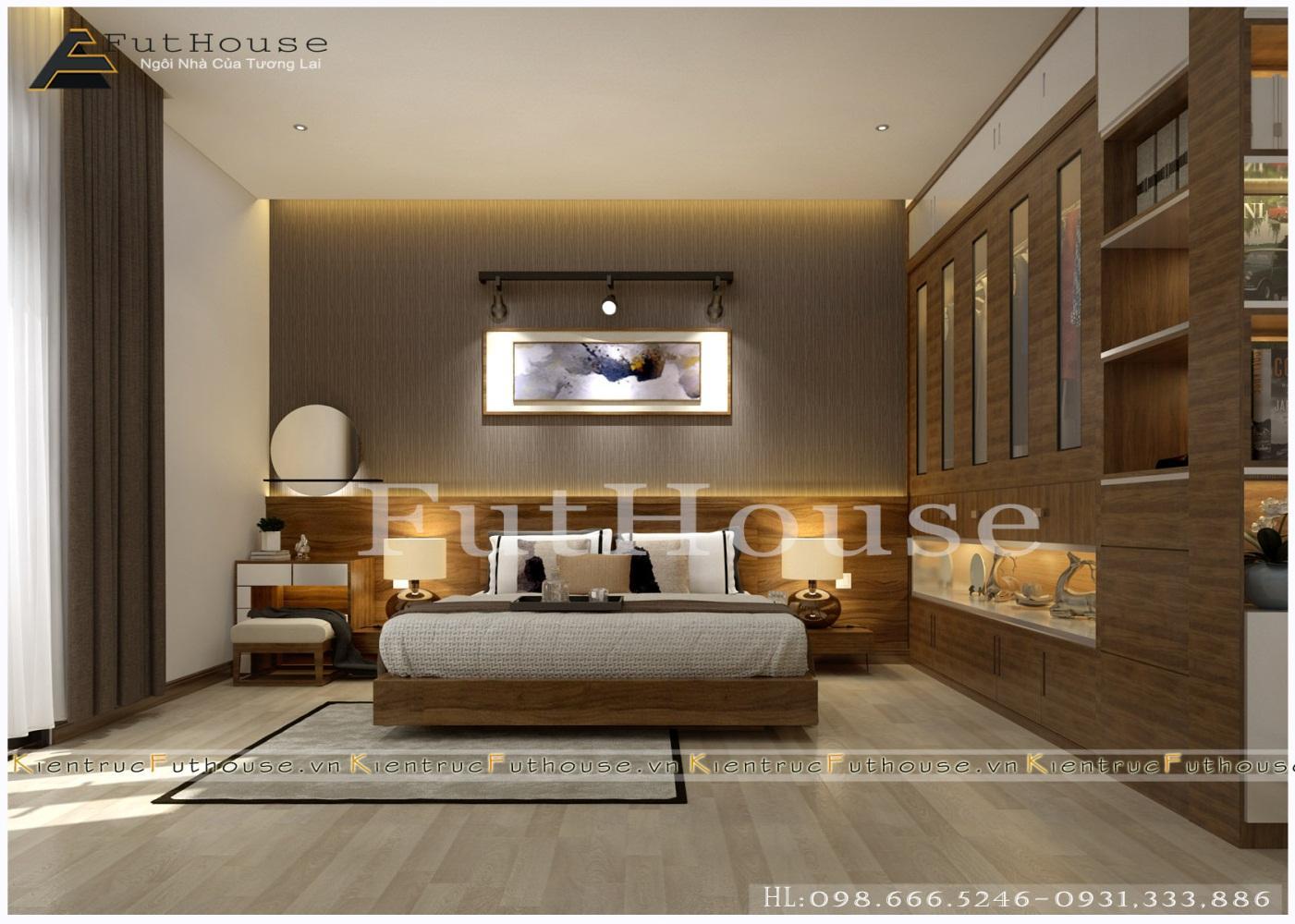 Không gian phòng ngủ với tông màu nâu trầm cao cấp