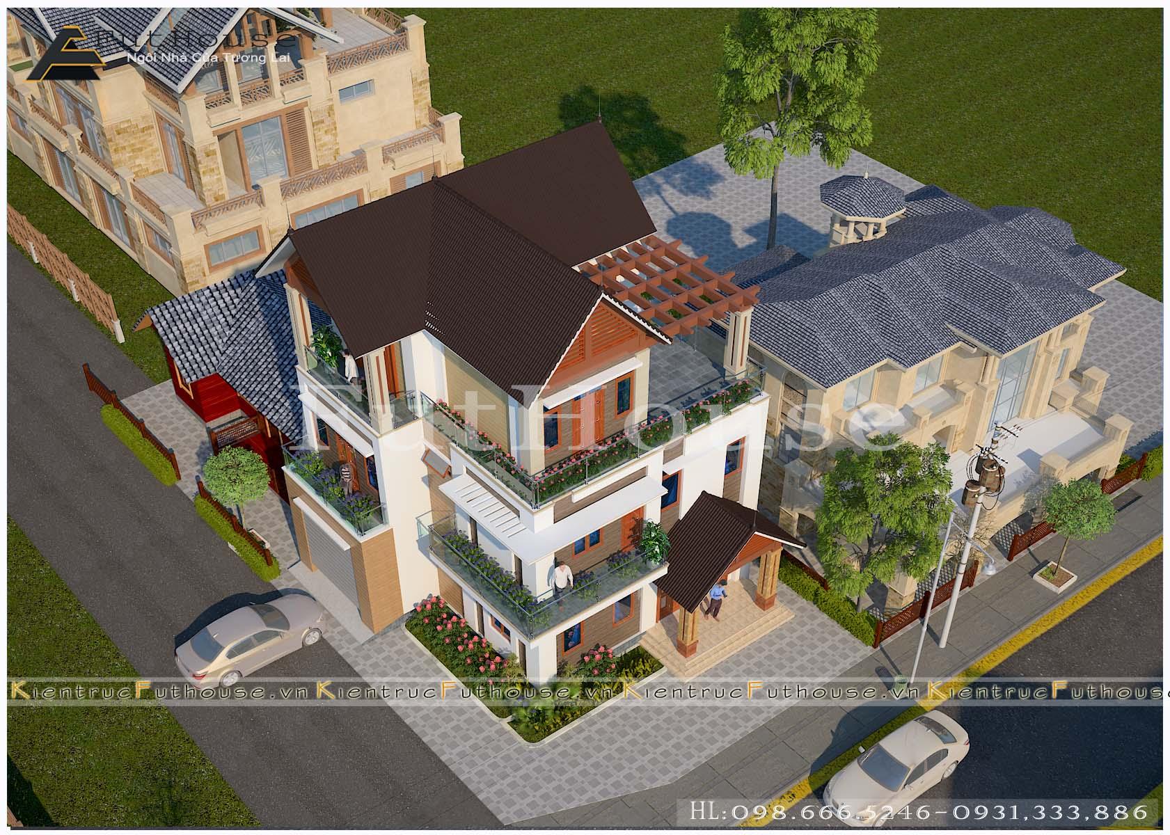 Mô phỏng về biệt thự 3 tầng hiện đại Vĩnh Phúc
